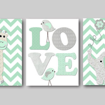 Kids Art Kids Wall Art Playroom Wall Art Playroom Print Baby Boy Nursery Print Kids Wall Decor Baby Nursery Decor set of 3 8x10 Gray Mint
