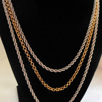 Monet Necklace Gold and Silver Triple Strand chains