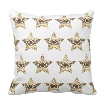 Stars Pattern Gold Look Elegant Christmas Throw Pillow