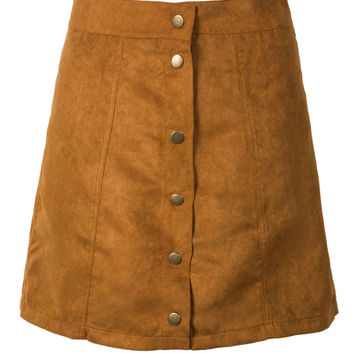 Khaki Suedettte Button Front Plain A-line Skirt