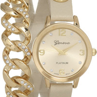 GENEVA PLATINUM Wrap Around Arm Candy Crystal Chain Link Gold Tone Watch (Cream)