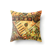 Square Pillow Cover in an abstract design orange, brown and yellow, indoor outdoor throw pillow covers in 16 x 16, 18 x 18 or 20 x 20 inch