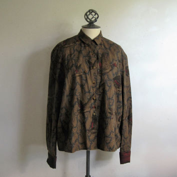 Vintage J. Tiktiner Blouse 1980s Brown Flying Ducks Rhinestone Cotton Blend Plus Size Shirt 16