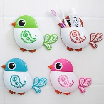 Holder Plastic Toothbrush Bird Pattern Suction Cup