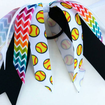 Rainbow softball hair streamer, team hair bows, softball ponytail ribbon hair tie, team sports, softball bow, fastpitch softball team bow