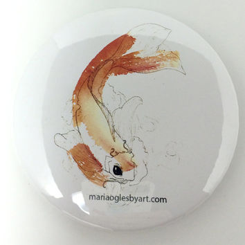 Twisting Koi Fish Pen and Ink Drawing Collectable Pin On Art Button, Watercolor and Micron Pen Painting Beautiful Fish Collectors Art Button