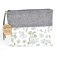 Black and Grey Tiny Geometry + Floral | Flat Patchwork Pouch