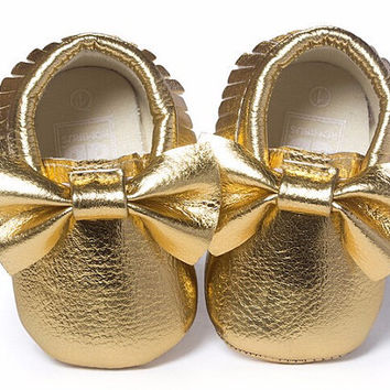 Gold Foil Moccasins, Gold Moccasins, Baby Girl Moccasins, Vegan Soft Sole 3-18 months Infant Shoes Gift Toddler, Baby Shower, Moccs Mocs