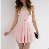 Backless Pink Skirt Sleeveless Sexy One Piece Dress [9342351172]