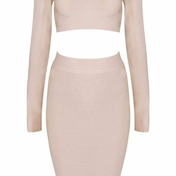 Posh Girl  Long Sleeve Bandage Skirt Set