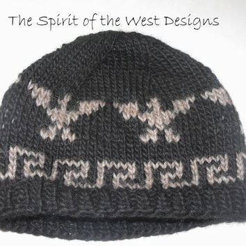 Eagle Legends Hat / Toque, Knitting Pattern - Wool Hat, Toque, Beanie, Fair Isle, Stranded, Adults, teens, unisex, cowichan salish style hat