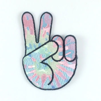 Peace Sign Hand Tie Dye Patch / Iron-On, Embroidered Patch / Applique – Tie Dye Peace Hand Emoji !!!