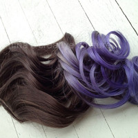 "Ombre Hair Extensions, Purple Haze, Dark Brown Hair, Purple Hair, Bohemian Hair,(7) Piece, 22""/Custom Your Own"