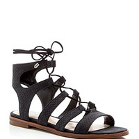 VINCE CAMUTOTany Snake-Embossed Gladiator Lace Up Flat Sandals