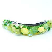 Beaded freeform barrette hair clip - large size - green embroidered seed bead accessory - hair jewelry - handmade beadwork - glass beads