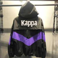 Kappa Breathable V Type Line sports sun protection suit Casual zipper hooded jacket Black/Purple