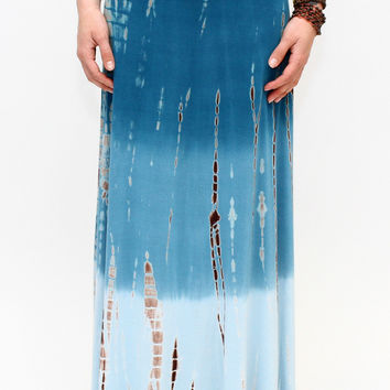 Ombre Tie Dye Fold-Over Maxi Skirt