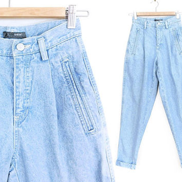 "Sz 2 P 90s High Waisted Pleated Jeans - Vintage Baggy Light Blue Stone Washed Mom Jeans - Petite High Rise Tapered Leg  Trousers - 26"" Waist"