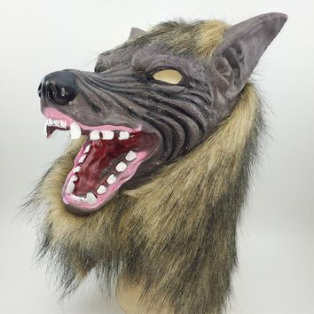 Halloween Werewolf paws Claw Cosplay Adult latex hood tricky Fetish Animal Wolf Head Mask Masquerade Carnival Rave party Costume
