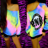 PINK  Rainbow color printing fashion sweater