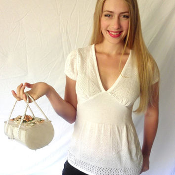 SEX BOMB 1980s White Lacy Knit Top Plunging Neckline Sultry Summer Look Vanity Designer Acrylic  Size Medium