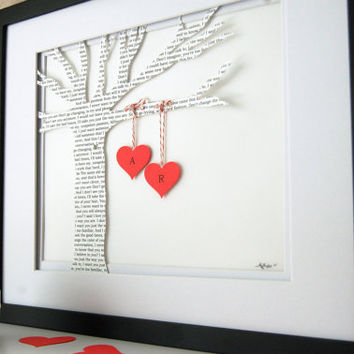 Personalized Custom Text Paper Tree with Hanging Hearts - Love Story, Poem or Special Wording 8x10 FRAMED