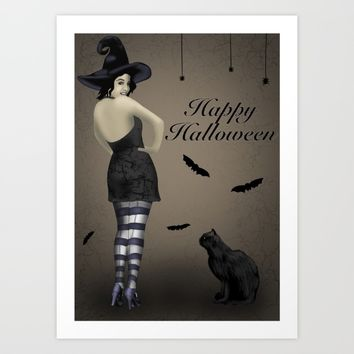 Sassy Witch Art Print by Mandi Lynn Prevoteau