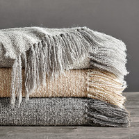 Alpaca Bouclé Weave Oversized Bed Throw