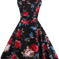 Atomic 1950's Vintage Rose Rockabilly Dress