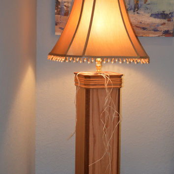 "TABLE LAMP - WOOD - Handmade Lamp - Lighting -Oak and Mahogany Trimmed Lamp- Tall 44""- Custom - Decorator Lamp - Gorgeous"
