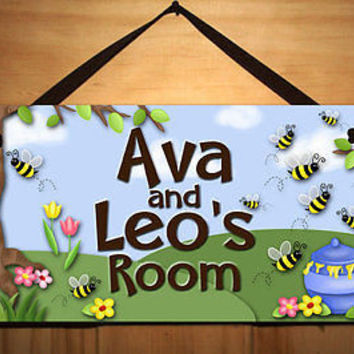 Kids Door Sign Honey Bee Busy Bee  Bedroom Nursery Personalized Name Sign DS0239