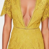 Missguided - Yellow Plunge Lace Ladder Trim Romper