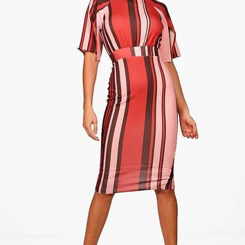 Beau Split Sleeve Stripe Wiggle Detail Midi Dress | Boohoo