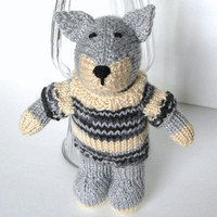 "Hand Knit Wolf in Sweater - Plush Doll Stuffed Animal Woodland Forest Nursery Baby Toy Knit Animal Plush Gray Wolf Stuffed Toy 9 1/2"" Tall"