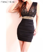 Sexy Club 2016 Women Dress Short Dress Ladies Vestidos V-Neck Low-Cut Empire Black Gold Sequin Bodycon Sheath Mini Party Dresses