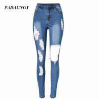 PADAUNGY New High Waist Torn Jeans Women Ripped Hole Jean Femme High Waist Skinny Jeggings Plus Size Denim Pants Autumn Trousers