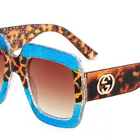 GUCCI 2018 large box men and women polarized high quality and elegant glasses F-ANMYJ-BCYJ Leopard/blue