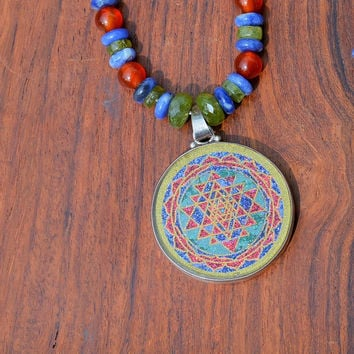 Sacred Geometry Sri Yantra Necklace Stone Carnelian Sodalite Peridot Orange Blue Green Handmade Gemstone Metaphysical Chakra Kynd Vallley
