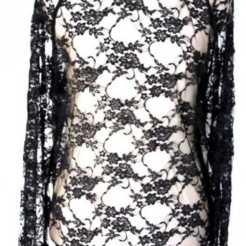 Womens Designer black Lace long sleeve top by urban hippie