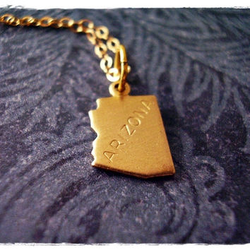 Tiny Gold Arizona State Necklace - Raw Brass Arizona Charm on a Delicate 18 Inch 14KT Gold Filled Cable Chain