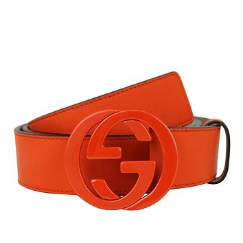 Gucci Men's Orange Leather Interlocking G Buckle Belt 223891 7519