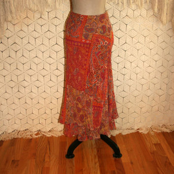 Gypsy Bohemian Skirt Orange Paisley Silk Chiffon Skirt Maxi Size 6 Skirt Layered Gypsy Skirt Bohemian Clothing Small Medium Womens Clothing