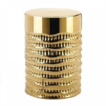 Golden Decorative Textured Stool