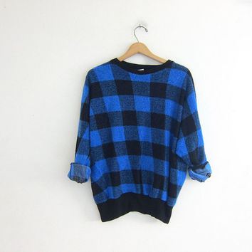 Vintage 80s sweatshirt. buffalo checkered sweater. blue & black.