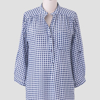 Main Street Gingham Blouse In Navy