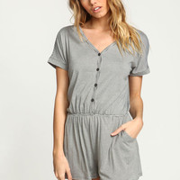 GREY STRIPED BUTTON ROMPER WITH POCKETS