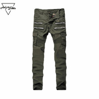 Men Skinny Biker Jeans Multi Pockets Cargo Pants Army Green Men Pleated Pencil Jeans Elastic Jeans