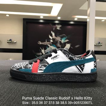 Puma Suede Classic Rudolf x Hello Kitty Blue White Black Sneaker Shoes - 366531-02