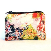 "Trippy Flower Painting Print Cotton Padded Pipe Pouch 4"" / Glass Pipe Case / Spoon Cozy / Piece Protector / Pipe Bag / MINI"