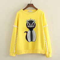 3D ball fox princess cartoon o-neck sweatshirt  kawaii